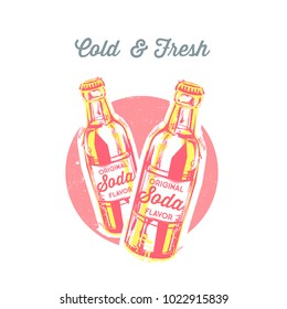 Vintage vector illustration - summer drink. Retro emblem of soda bottle