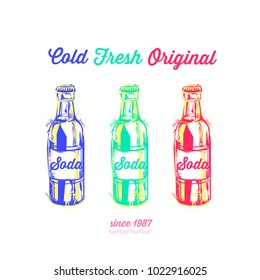 Vintage vector illustration - summer drink. Retro emblem of color soda bottles