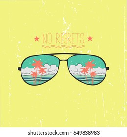 Vintage vector illustration -  Sunglasses with reflection of the sea