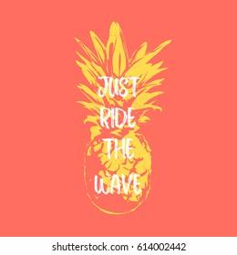 Vintage vector illustration - Surf pineapple lettering t-shirt print
