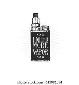 Vintage vector illustration of vaping box mod. Vaping store and bar. Retro style emblem with vaping attributes for t-shirt print