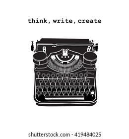 Vintage vector illustrations of retro typewriter, inspire writers, screenwriters, copywriters and other creative people.