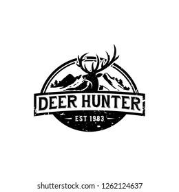 Vintage Vector Ilustration logo of Hunter Deer with mountain ilustration