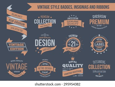 Vintage vector insignias, badges and ribbons. EPS10, text outlined.