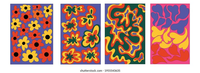 vintage vector interior posters in hippie style.70s and 60s funky and groove postcards.Psychedelic patterns with flowers, waves, heart shapes.Abstract shapes for wallpaper and background.