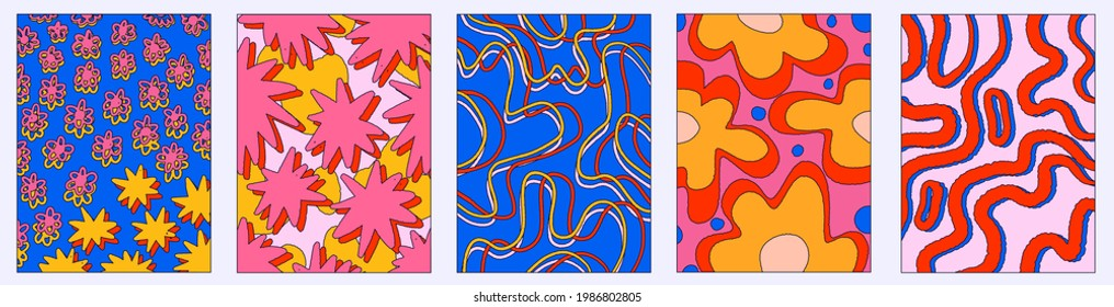 vintage vector interior posters in hippie style.70s and 60s funky and groove postcards.Psychedelic patterns with curves, stars, flowers, shapes.Abstract shapes for wallpaper and back.Low contrast