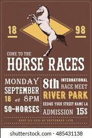 Vintage vector invitation - Horse races
