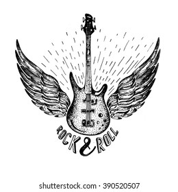 vintage vector label with rock and roll forever and guitar (T-Shirt Print). Music design. Hand drawn trace image. hipster rock festival poster