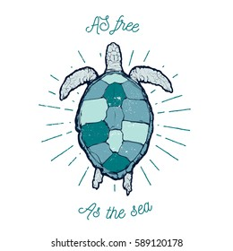 """Vintage vector  label - sea turtle with text """"As free as the sea"""""""