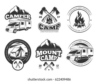 Vintage vector labels set with camper near mountain, tent and firtrees. Monochrome camping logo elements. Emblem outdoor adventure camp, illustration of vintage mountain camp label