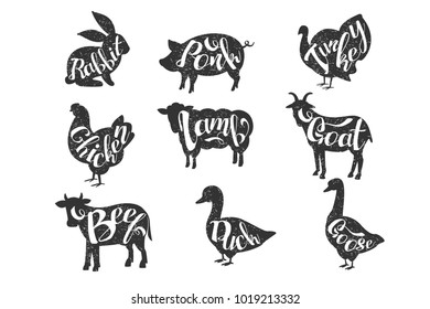 Vintage vector labels with silhouettes of farm animals with lettering. Rabbit, pork, turkey, chicken, lamb, goat, beef, duck, goose. Monochrome emblems for butcher shop