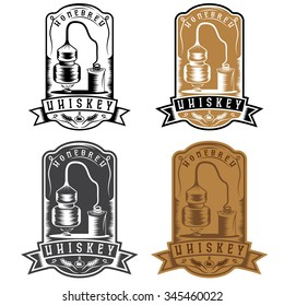 vintage vector labels of whiskey with home alcohol machine