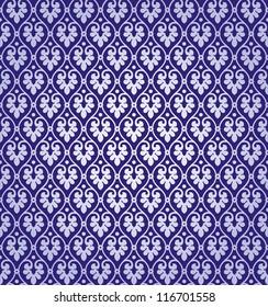 Vintage Vector Leaf Damask Brocade Vine Tapestry Wallpaper Background Pattern