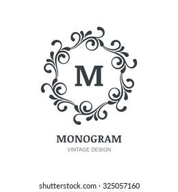 Vintage Vector Logo Design Decorative Ornament Flourishes Frame Background Abstract Concept For Boutique
