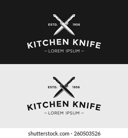 Vintage vector logo kitchen knife. Black and white silhouette.