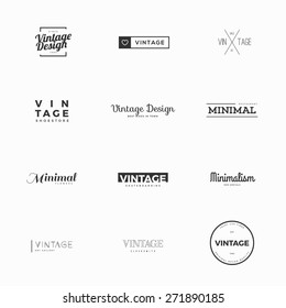 Vintage vector logo templates for brand design. Twelve examples of modern and minimal logo vectors
