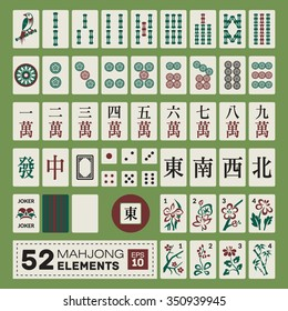 Vintage vector mahjong (majiang) set (number tiles from 1 to 9 in dots, characters, bamboos; winds: east, south, west, north; dragons: white, green, red; shirt, joker, flowers, dice, pointer)