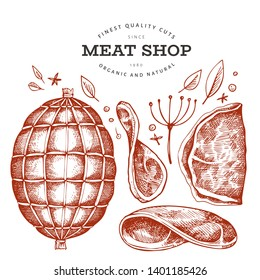 Vintage vector meat illustration. Hand drawn ham, ham slices, spices and herbs. Raw food ingredients. Retro sketch. Can be use for label, restaurant menu.