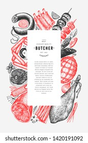 Vintage vector meat products design template. Hand drawn ham, sausages, jamon, spices and herbs. Raw food ingredients. Retro illustration. Can be use for label, restaurant menu.