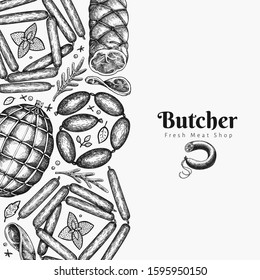 Vintage vector meat products design template. Hand drawn ham, wurst, sausages, spices and herbs. Retro illustration.