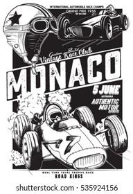 vintage vector monaco race poster
