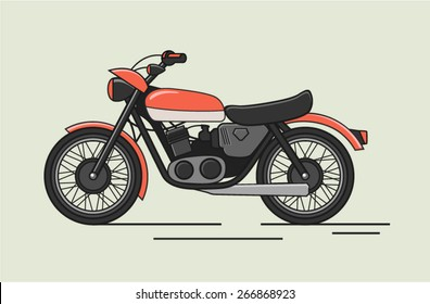 Vintage Vector Motorcycle Flat Illustration