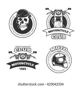 Vintage vector motorcycle or motorbike club logo set. Chopper helmet and skull for motorcycle club