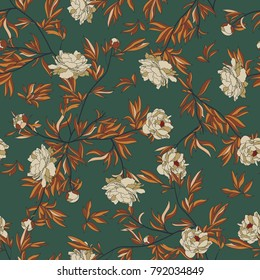 Vintage vector pattern with pink peony, leafs and tropical plants on a dark green background. autumn colors