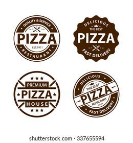 Vintage vector pizza logo, label, badge set 1
