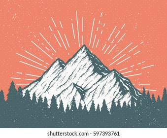 Vintage vector postcard with a mountain and woods. Pine forest in front of an icy white peak. Cool tourism card or banner design template.