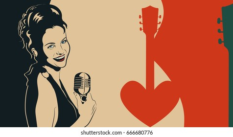 Vintage vector poster with lady singer