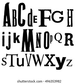 Vintage Vector Printed Alphabet. Various black fonts