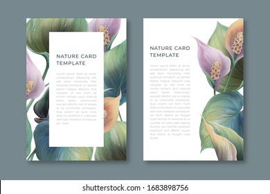 Vintage vector realistic cover design with calla flowers. Floral poster, greeting card, wedding floral invite, invitation card design. Flyer, banner, vector cover.