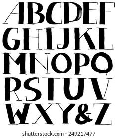 Vintage vector retro font. Ink typography. Handmade
