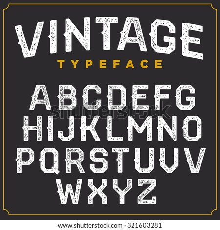 Vintage vector retro font. Stamped type, white scratched letters on grey background