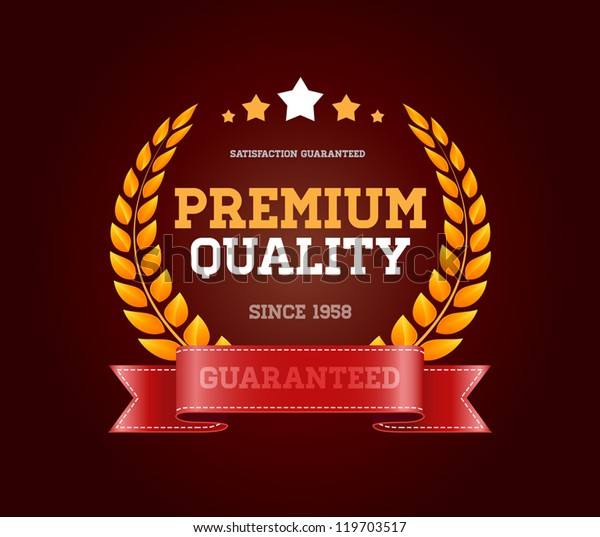 """Vintage vector round badge with red ribbon """"Premium quality"""""""