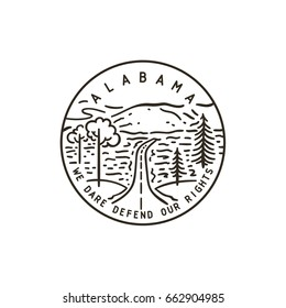 Vintage vector round label. Alabama. Cheaha mountain.