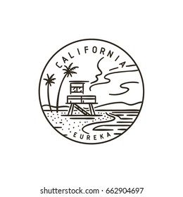 Vintage vector round label. California. Beach.
