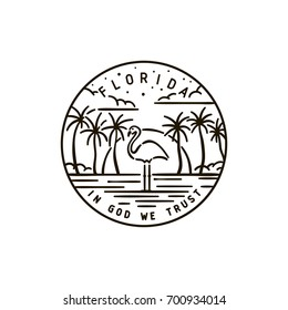 Vintage vector round label. Florida. Flamingo.