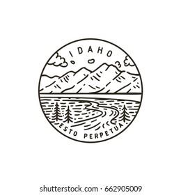 Vintage vector round label. Idaho. Teton river.