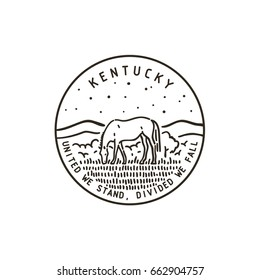 Vintage vector round label. Kentucky. River.