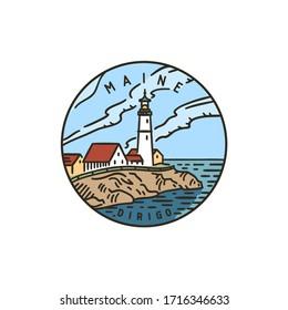 Vintage vector round label. Maine Lighthouse. Ocean