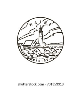 Vintage vector round label. Maine. Lighthouse.