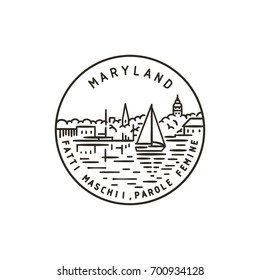 Vintage vector round label. Maryland. Port.