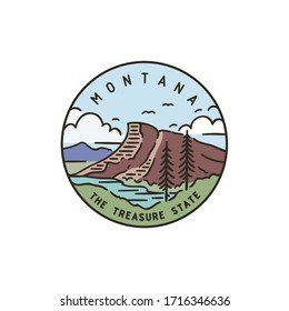 Vintage vector round label. Montana. Rocky Mountains