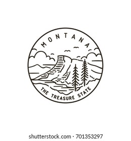 Vintage vector round label. Montana. Rocky Mountains.