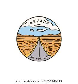 Vintage vector round label. Nevada Road. Desert