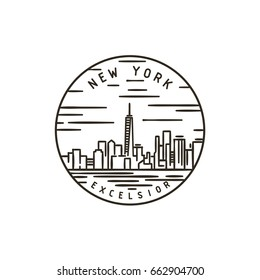 Vintage vector round label. New York. City.