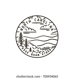 Vintage vector round label. North Carolina. Mountains.