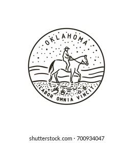 Vintage vector round label. Oklahoma. Cowboy.